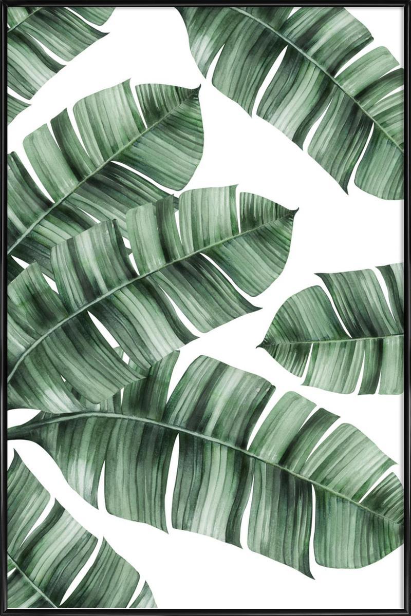 Affiche avec cadre standard (Noir) en Blanc & Vert/30x45