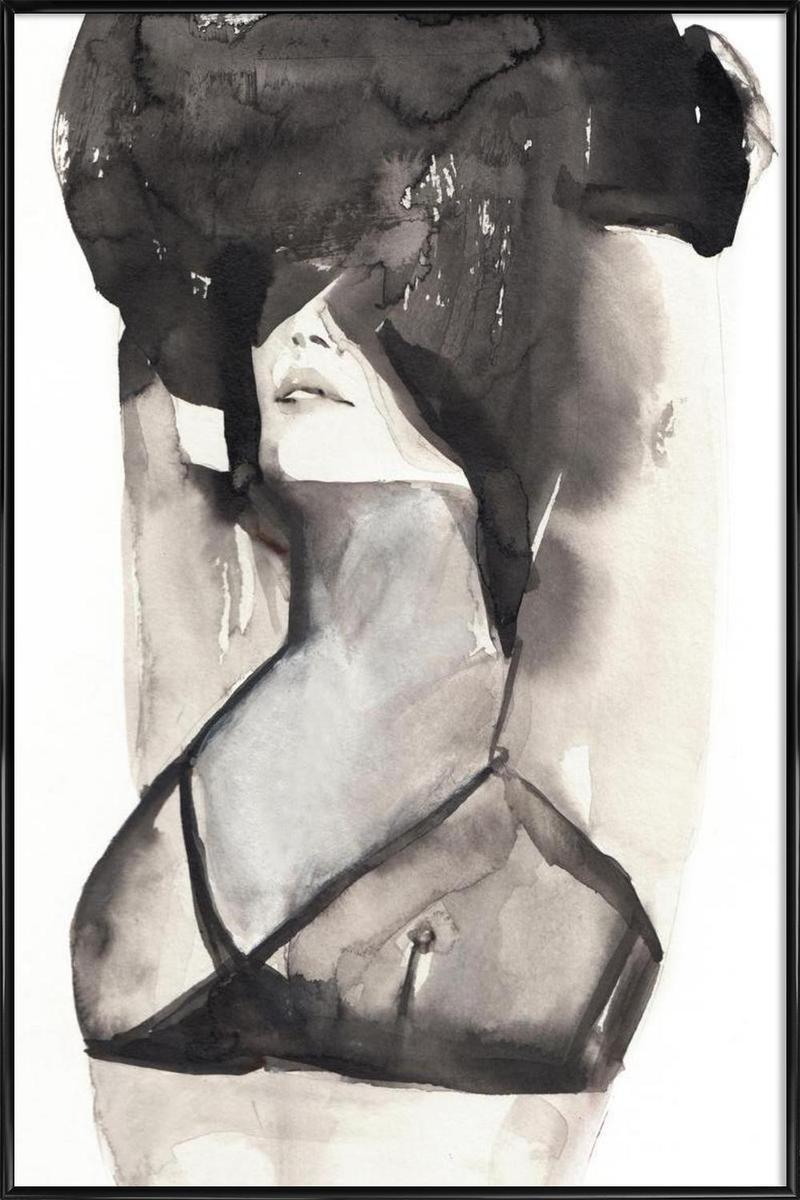 Affiche avec cadre standard (Noir) en Blanc & Gris/30x45