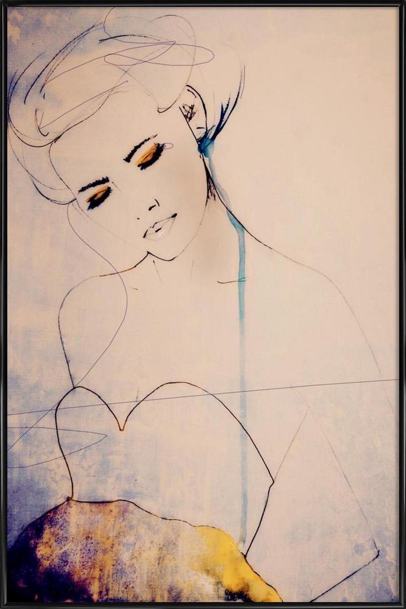 Affiche avec cadre standard (Noir) en Blanc ivoire & Jaune/30x45