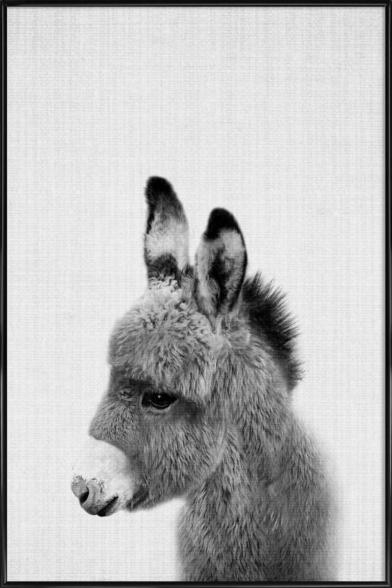 Affiche avec cadre standard (Noir) en Blanc & Gris/20x30