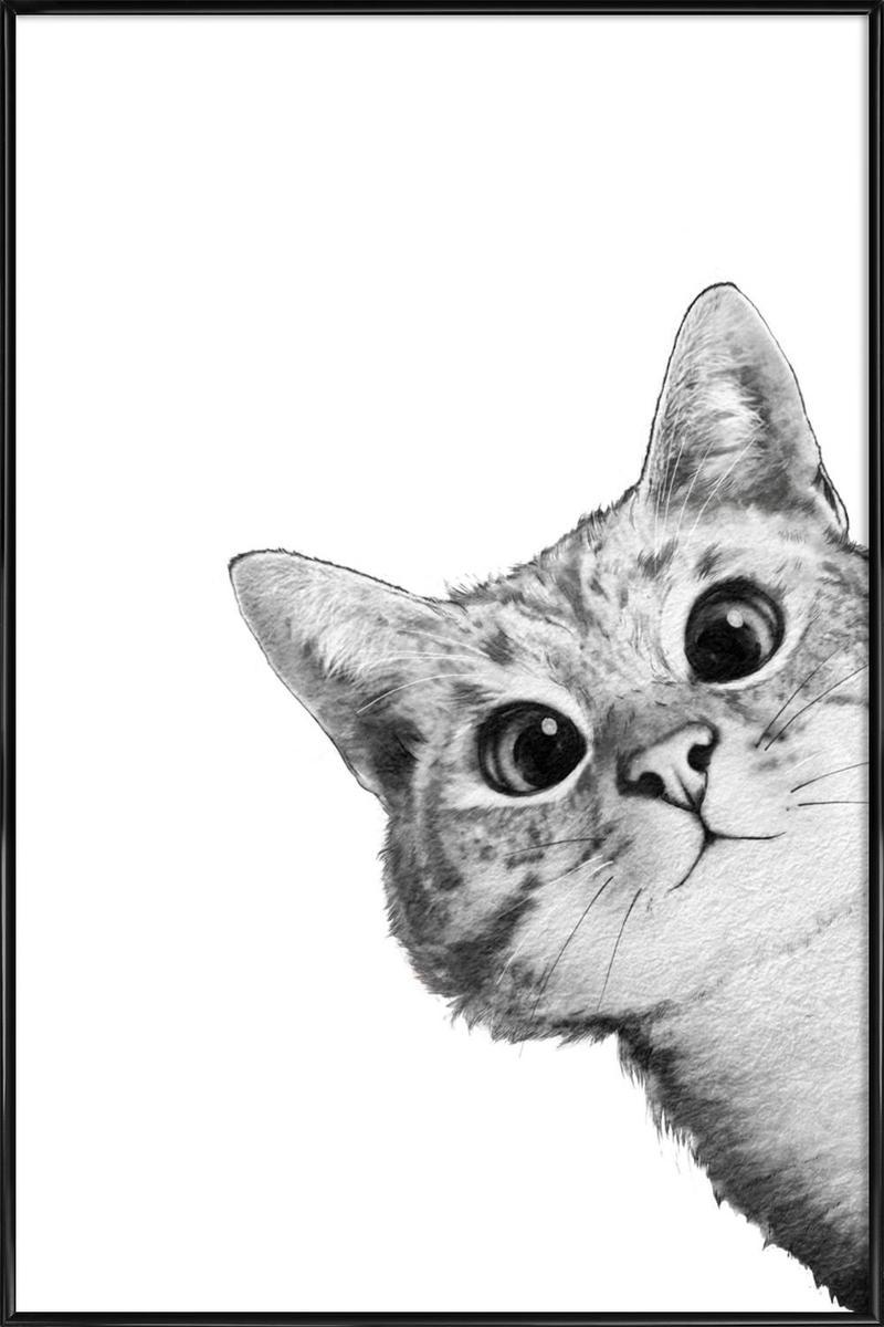 Affiche avec cadre standard (Noir) en Gris/20x30