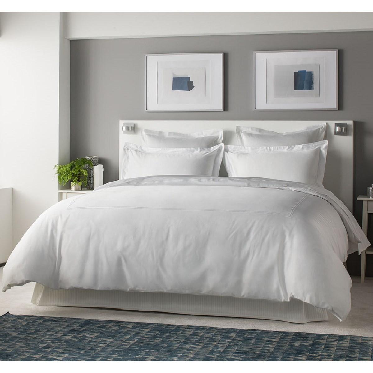 Drap plat luxe en Satin de coton Blanc 300x310 cm