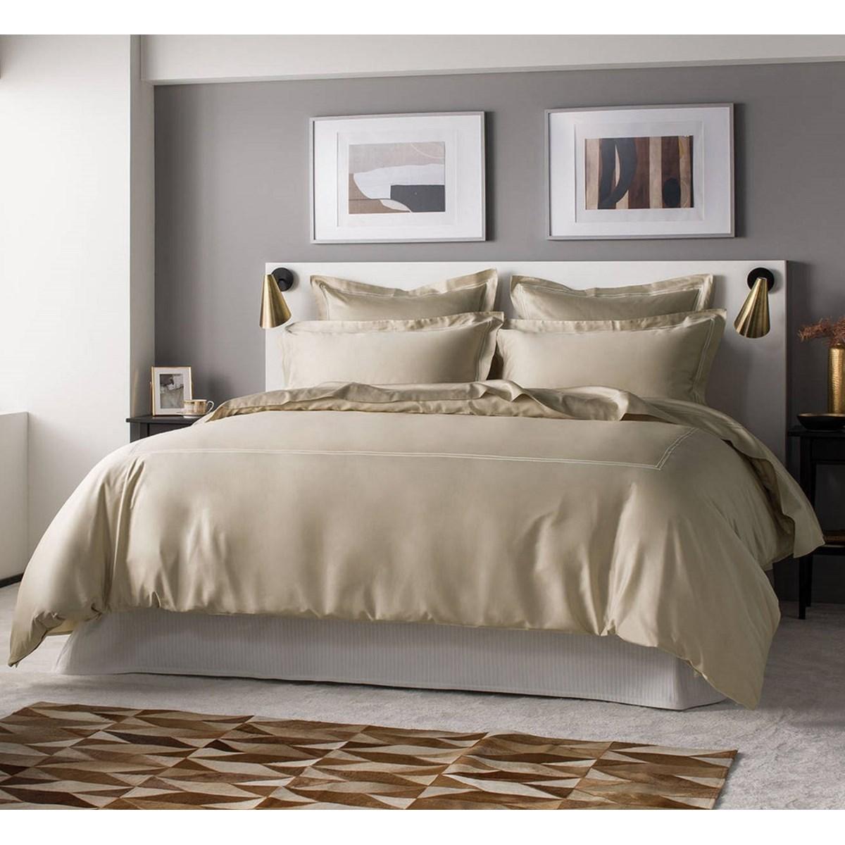 Drap plat luxe en Satin de coton Beige 270x310 cm