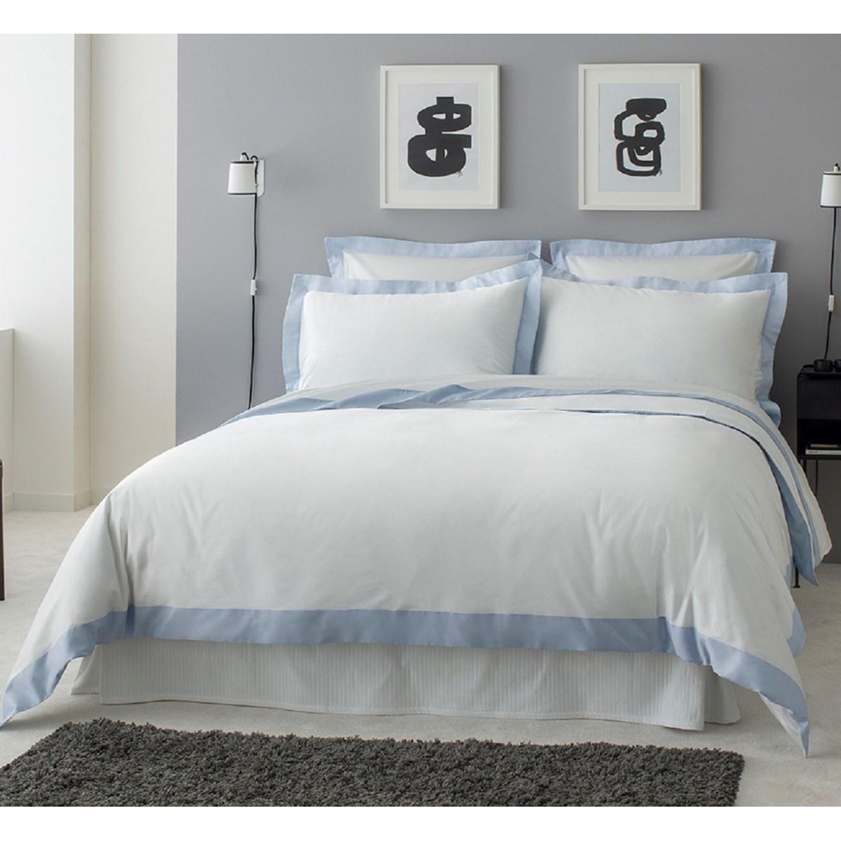 Drap plat luxe en Satin de coton Bleu ciel 240x310 cm