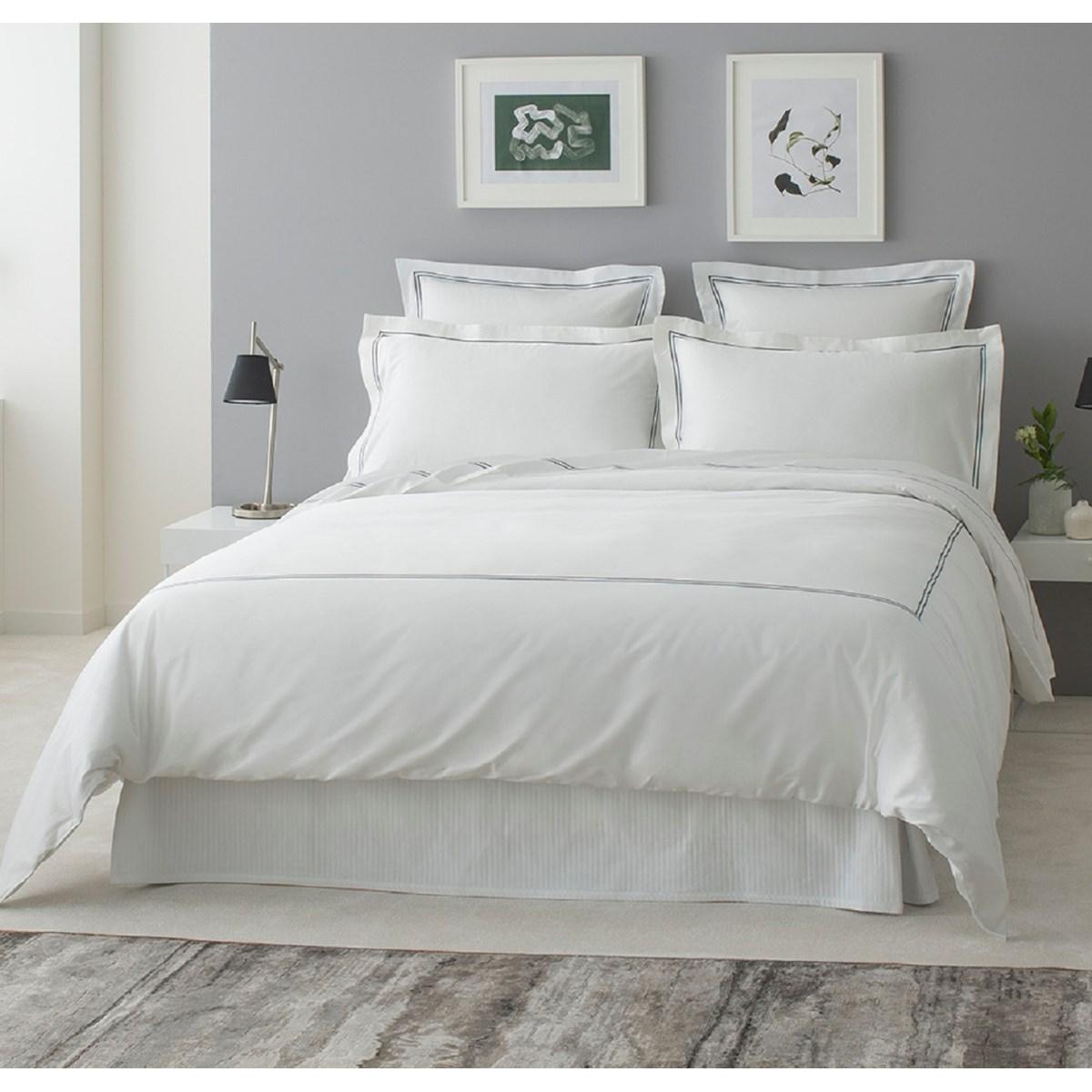 Drap plat luxe en Satin de coton Gris foncé 300x310 cm