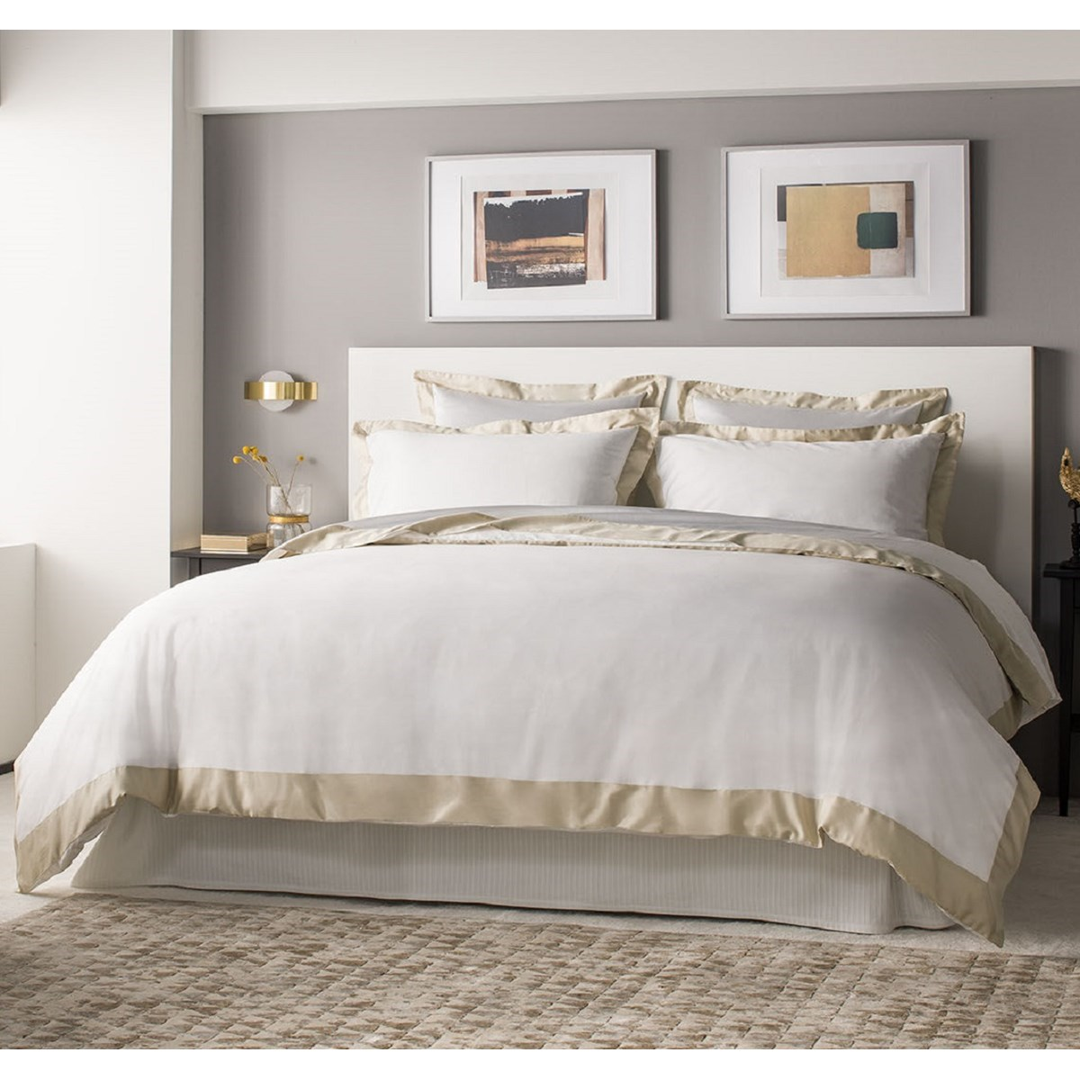 Drap plat luxe en Satin de coton Blanc 270x310 cm