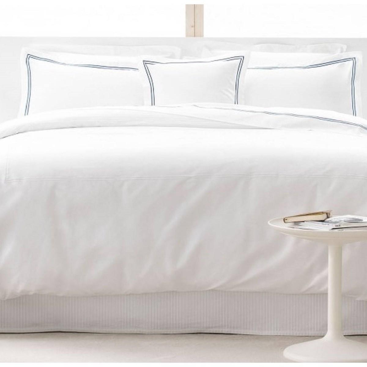 Drap plat luxe en Satin de coton Bleu 270x310 cm