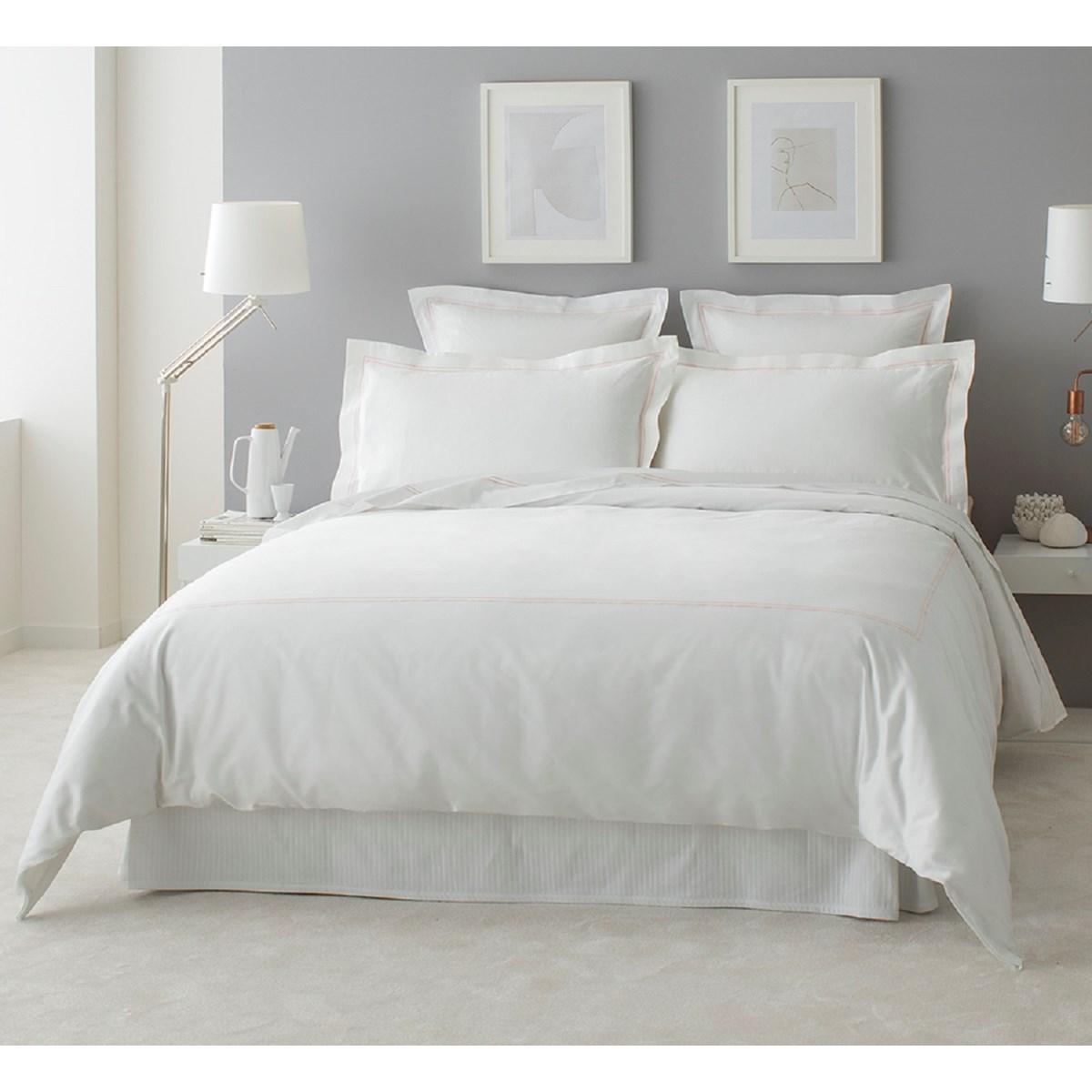 Drap plat luxe en Satin de coton Rose pâle 270x310 cm