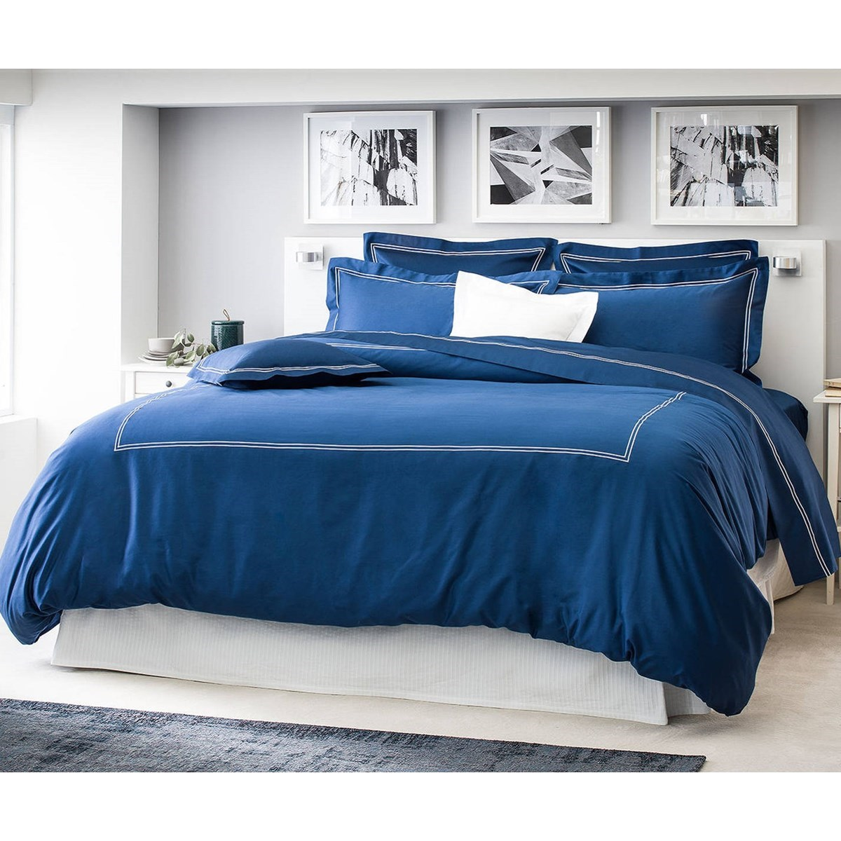 Drap plat luxe en Satin de coton Bleu 300x310 cm