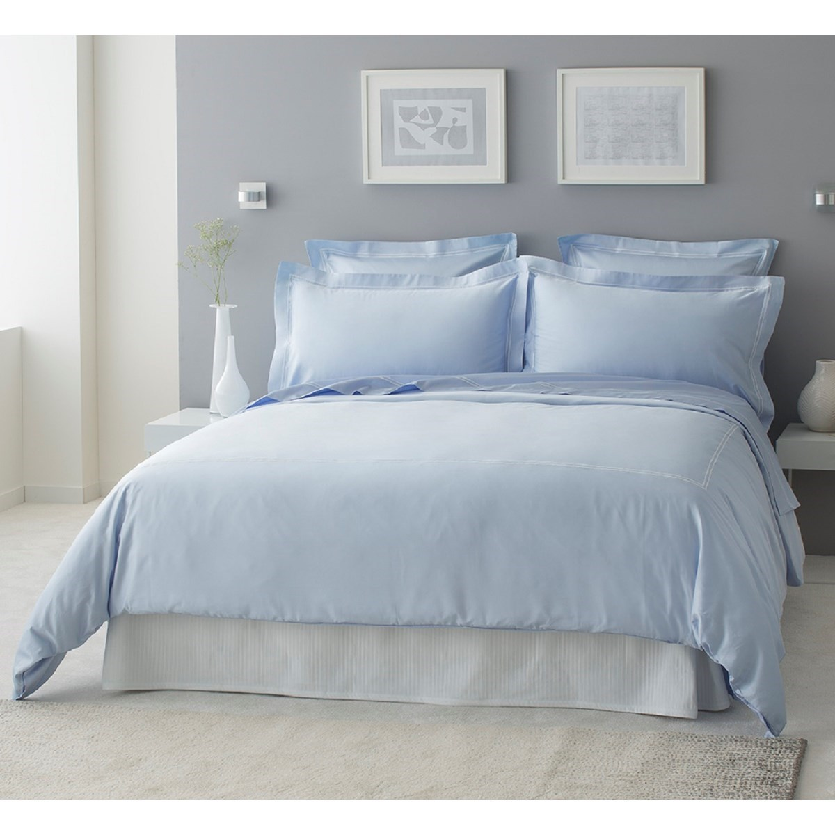 Drap plat luxe en Satin de coton Bleu ciel 300x310 cm
