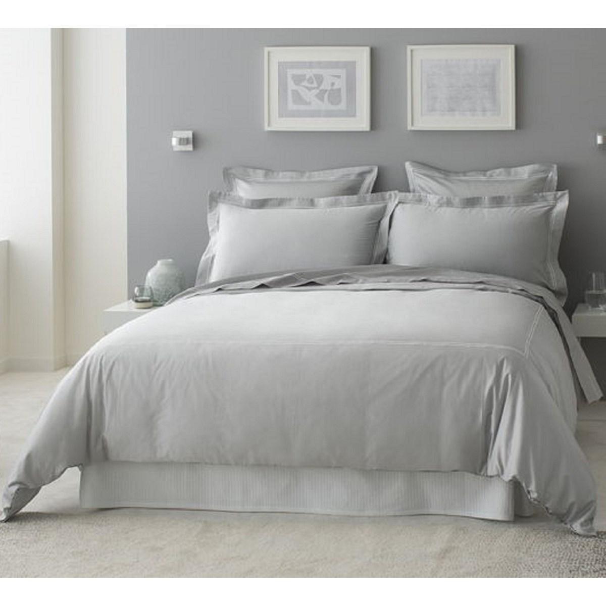 Drap plat luxe en Satin de coton Gris clair 240x310 cm