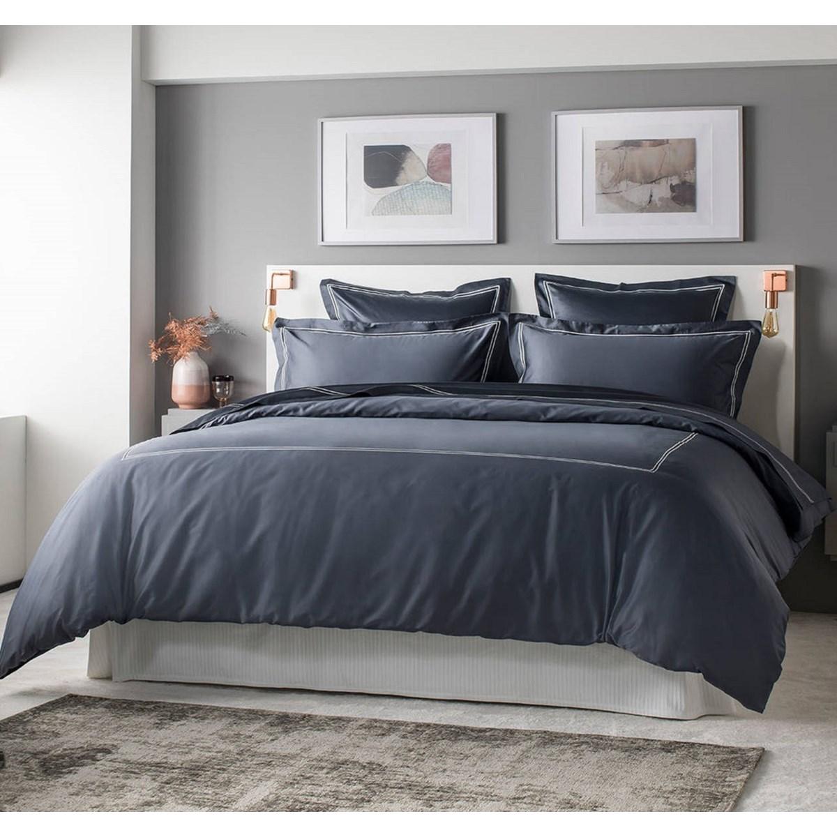Drap plat luxe en Satin de coton Gris 240x310 cm