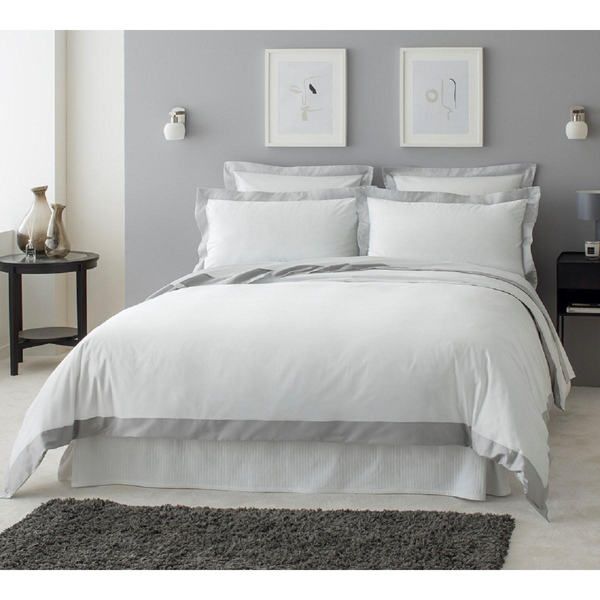 Drap plat luxe en Satin de coton Gris clair 270x310 cm