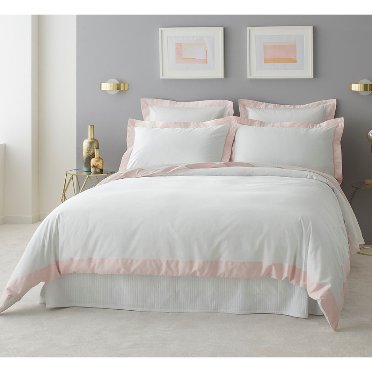 Housse de couette luxe en Satin de coton  Rose pâle 200x200 cm