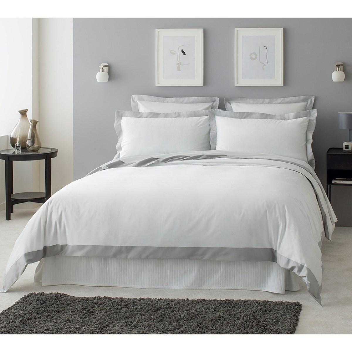 Housse de couette luxe en Satin de coton  Gris clair 260x240 cm