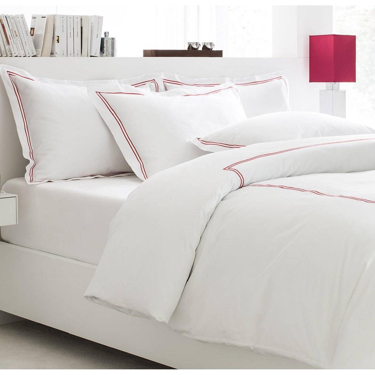 Housse de couette luxe en Satin de coton  Rouge 260x240 cm
