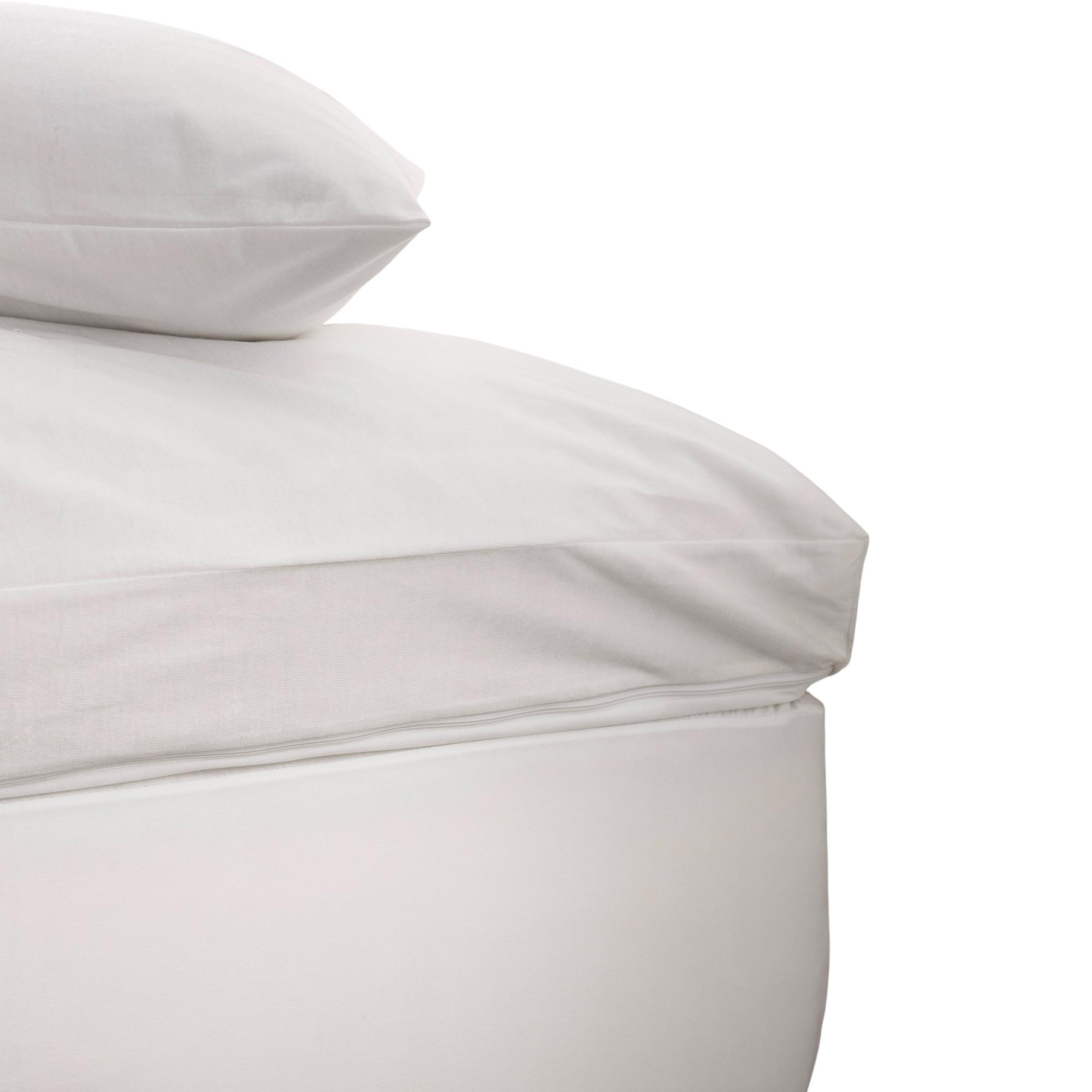 Housse surmatelas haute protection en Polyester Blanc 140x200 cm