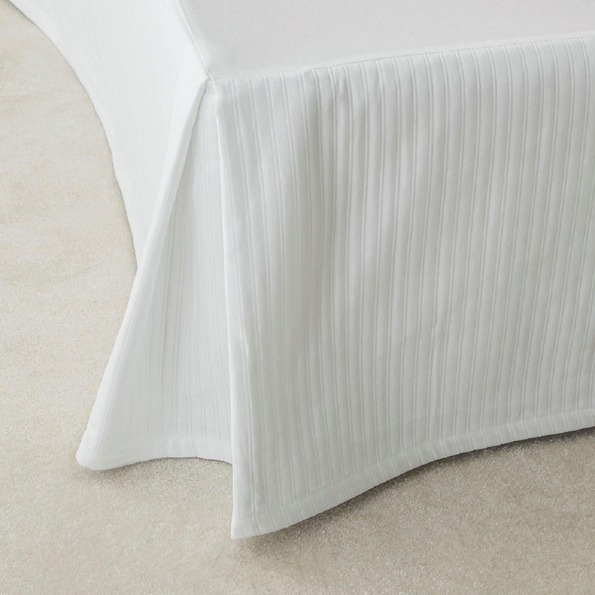 Cache sommier luxe en Coton Blanc 140x200 cm