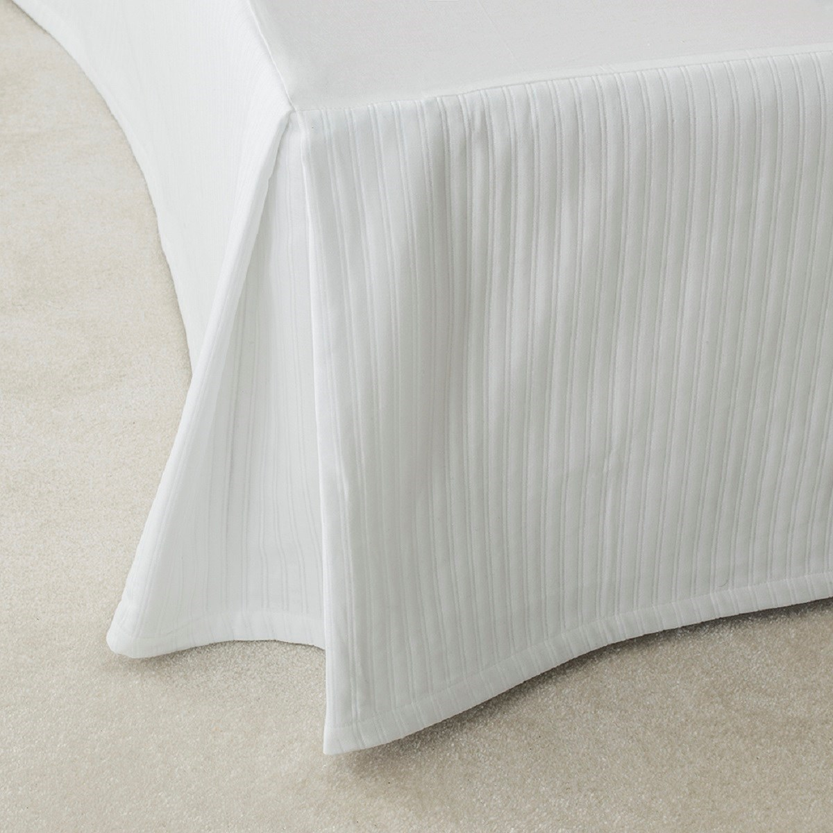 Cache sommier luxe en Coton Blanc 160x200 cm