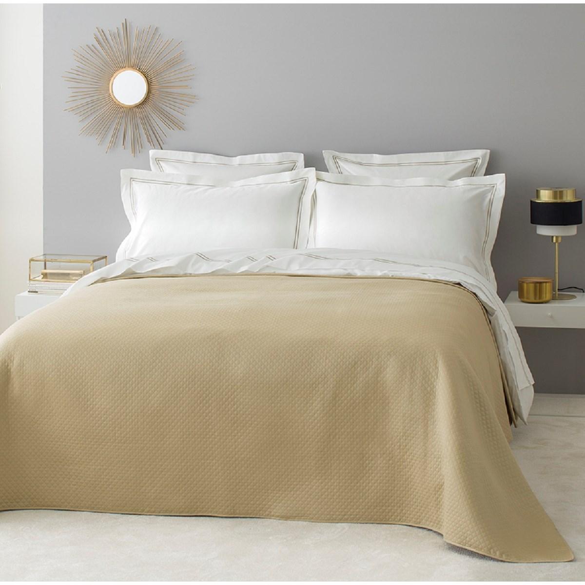 Dessus de lit luxe en Coton Beige 230x250 cm