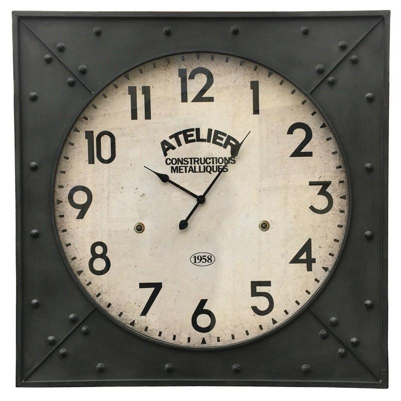 Grande horloge industrielle de gare en fer carré 100x100