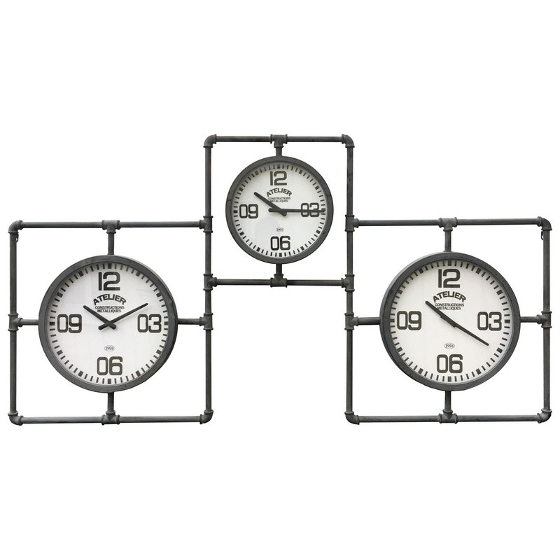 Horloge multiple industrielle tuyau en métal 86x160