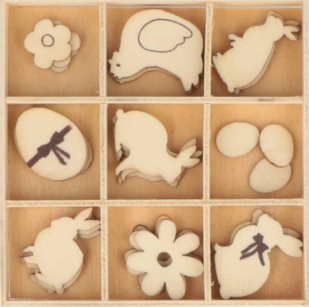 27 mini silhouettes en bois chocolats de Pâques