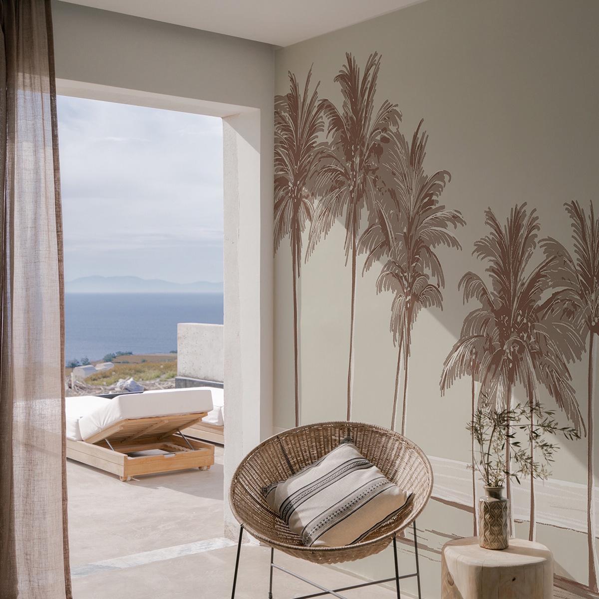 Papier peint panoramique palmiers 255x250