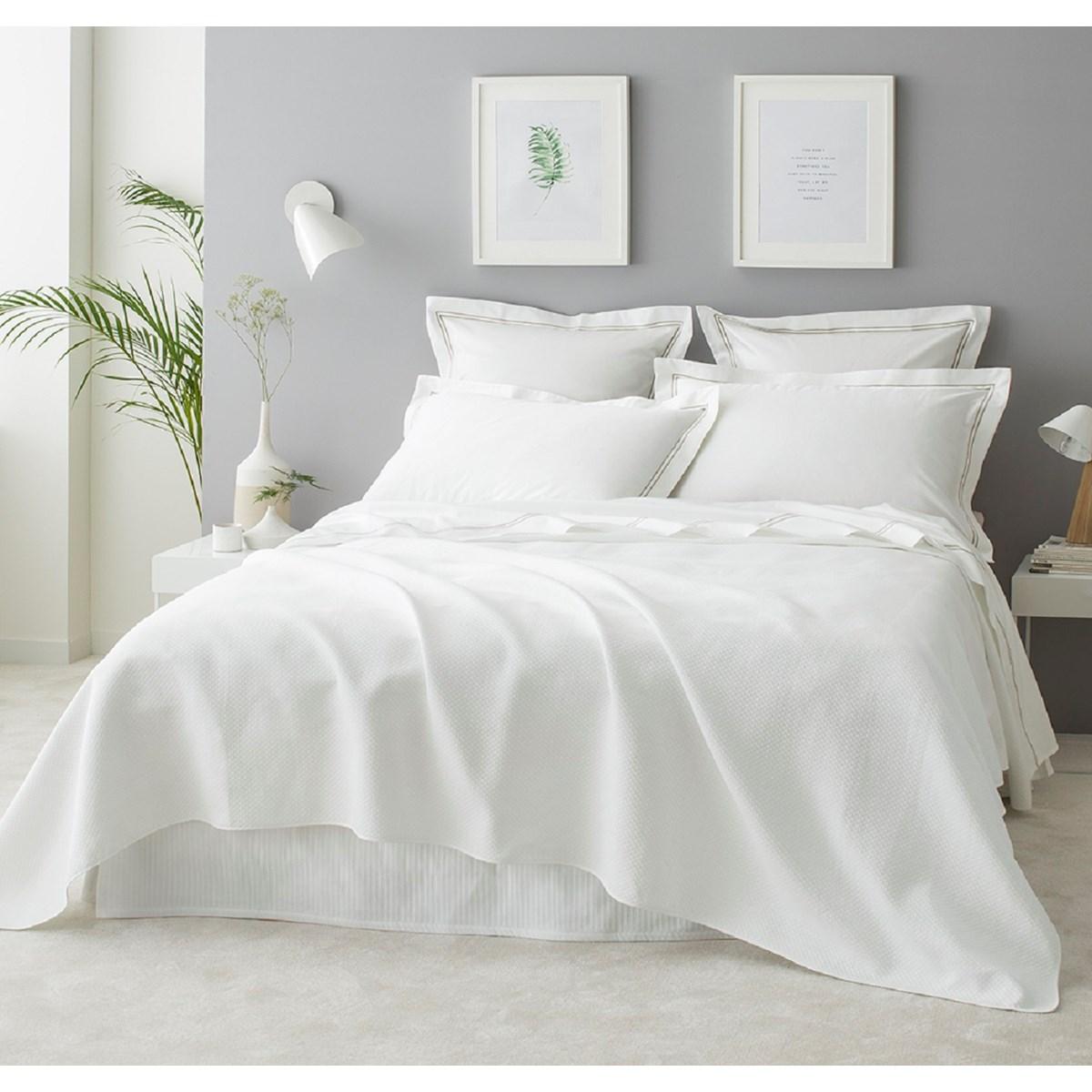 Couverture d'été luxe en Coton  Blanc 220x240 cm