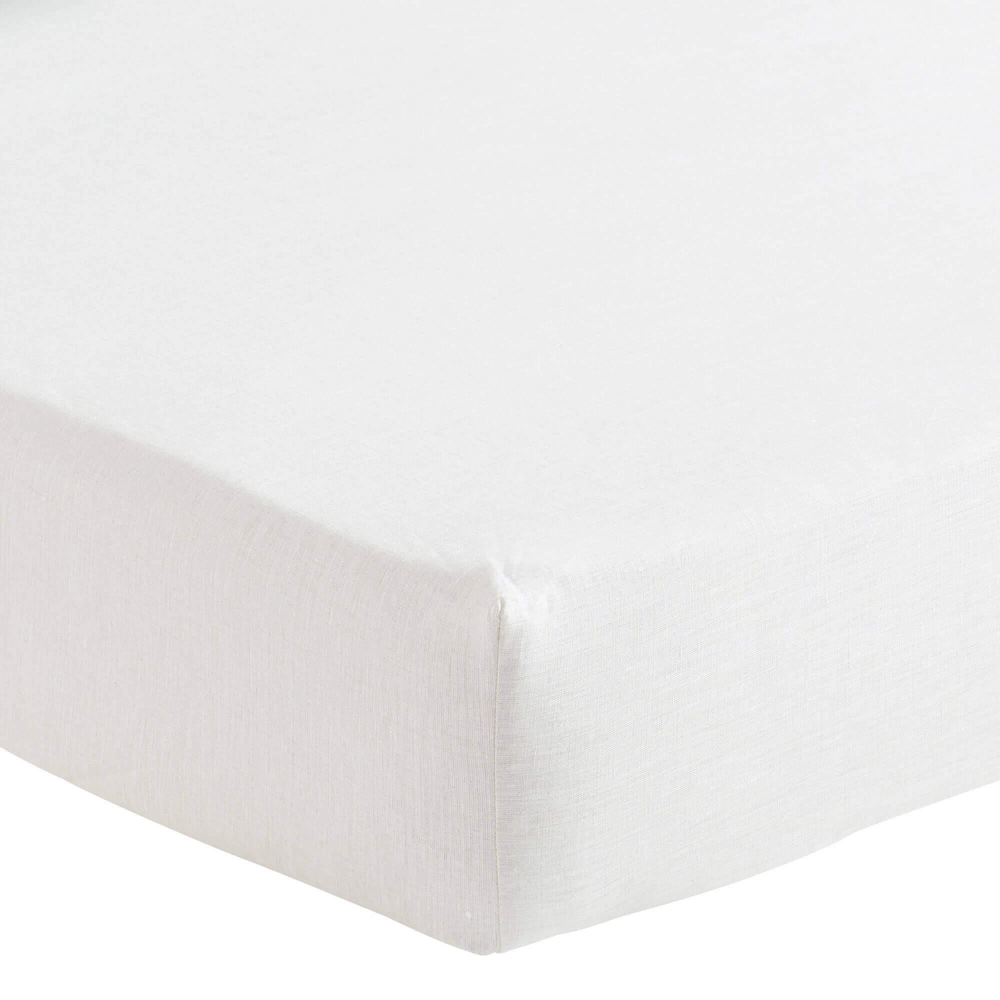 Drap housse en lin blanc 180x200