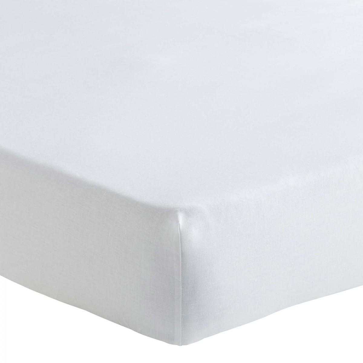 Drap housse en lin métis blanc 160x200
