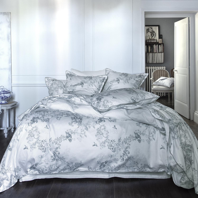 Housse de couette en satin de coton blanc canopée 240x220