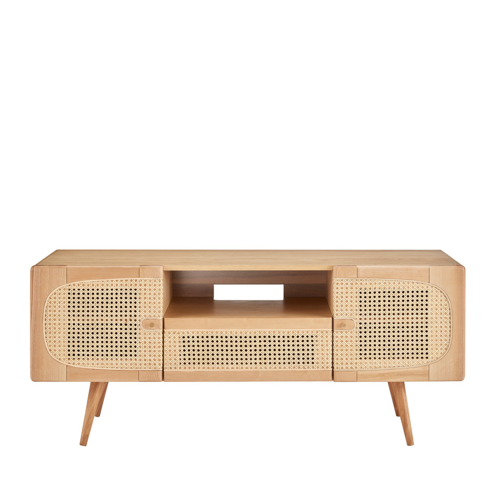 Meuble TV 2 portes 1 tiroir en bois et cannage frêne