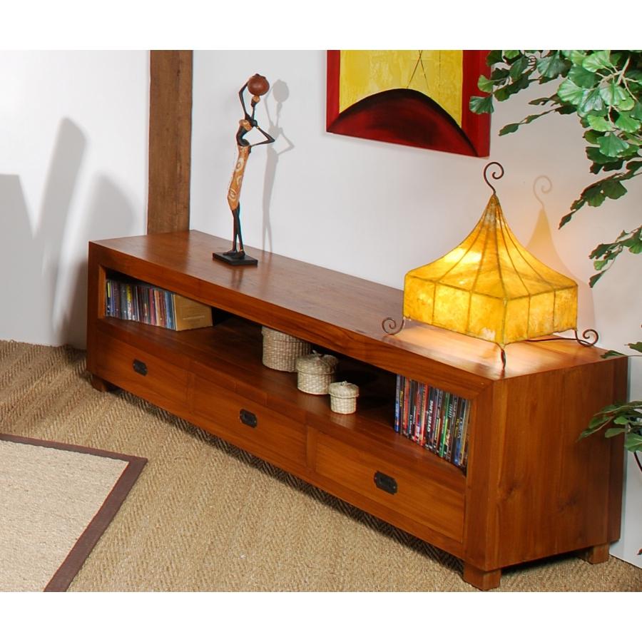 Meuble TV 3 tiroirs bois teck