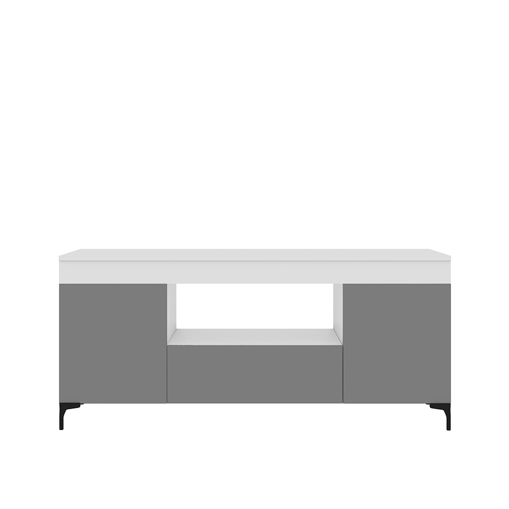 Meuble tv 137 cm blanc mat gris mat