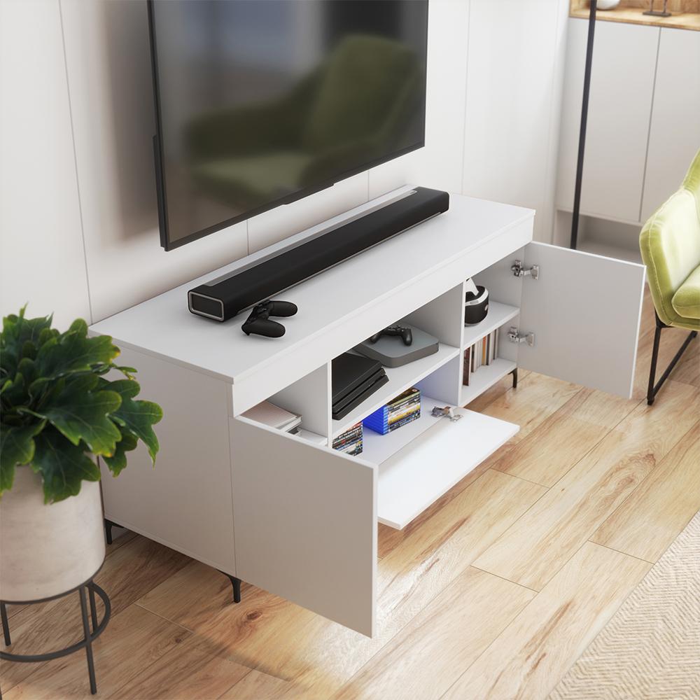 Meuble tv 137 cm blanc mat blanc mat