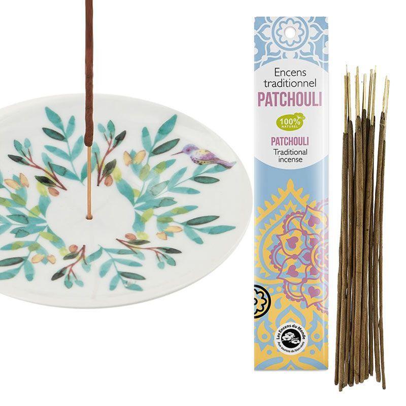Coupelle porte-encens en porcelaine + encens indien au patchouli