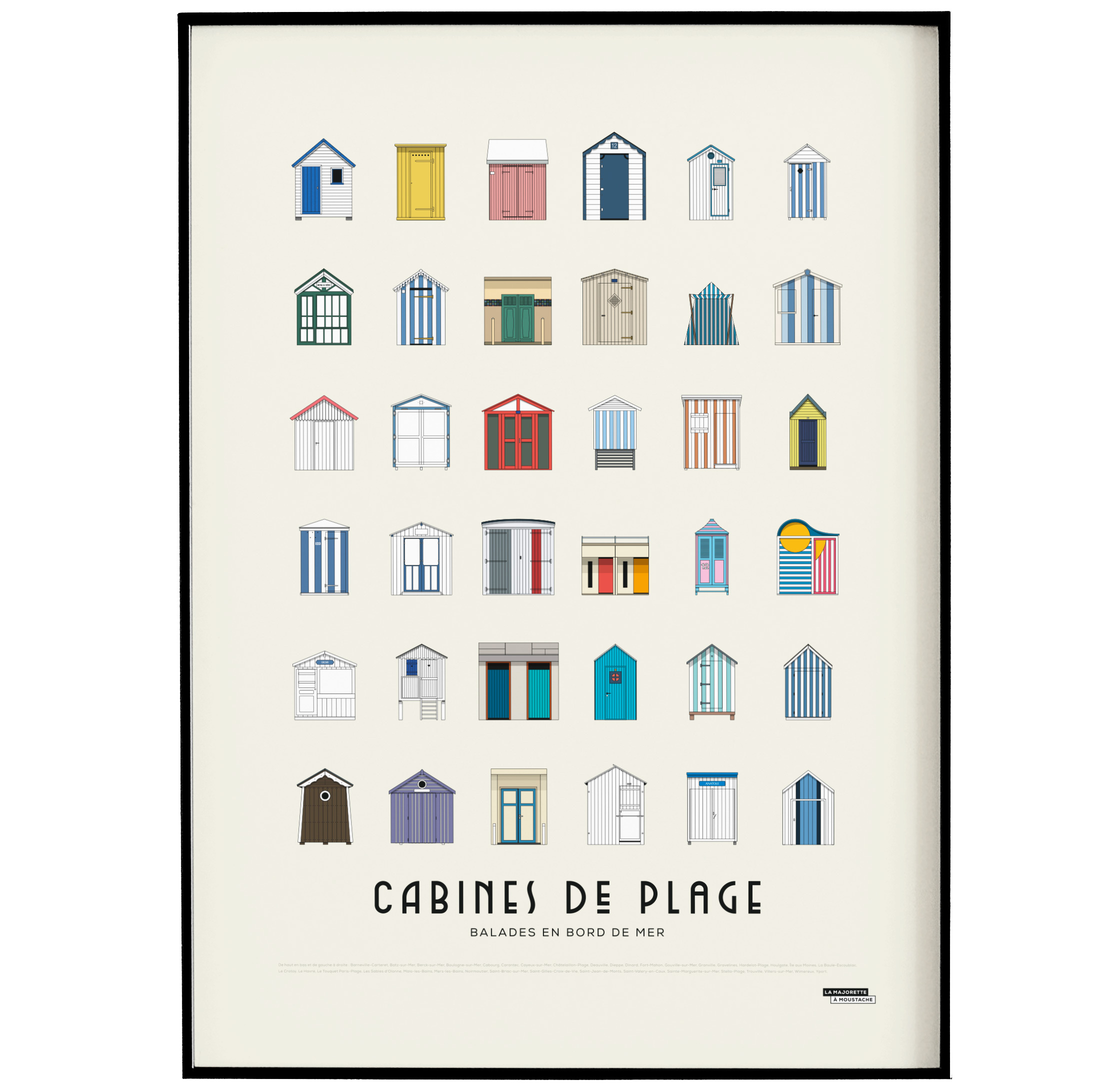 Affiche d'art cabines de plage 50 X 70 cm