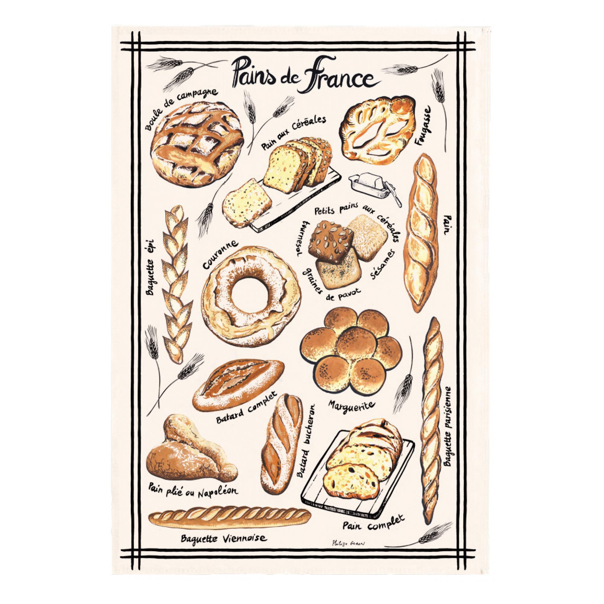 Torchon pains de france en coton ecru 48 x 72
