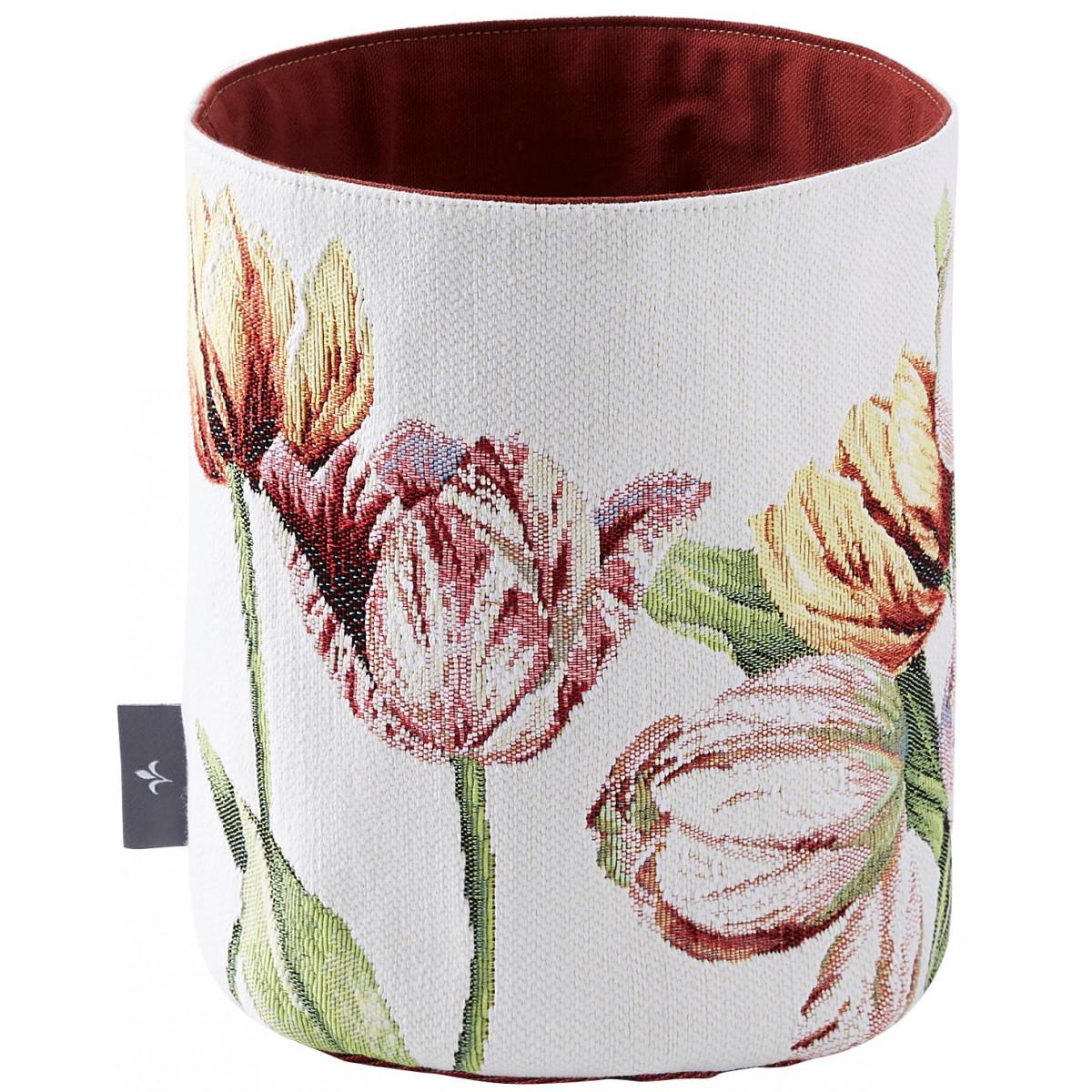 Panier tulipes tissé blanc 25x17