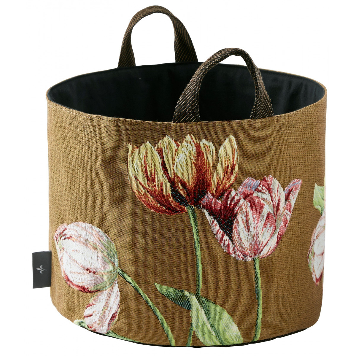 Panier tulipes tissé marron 25x28