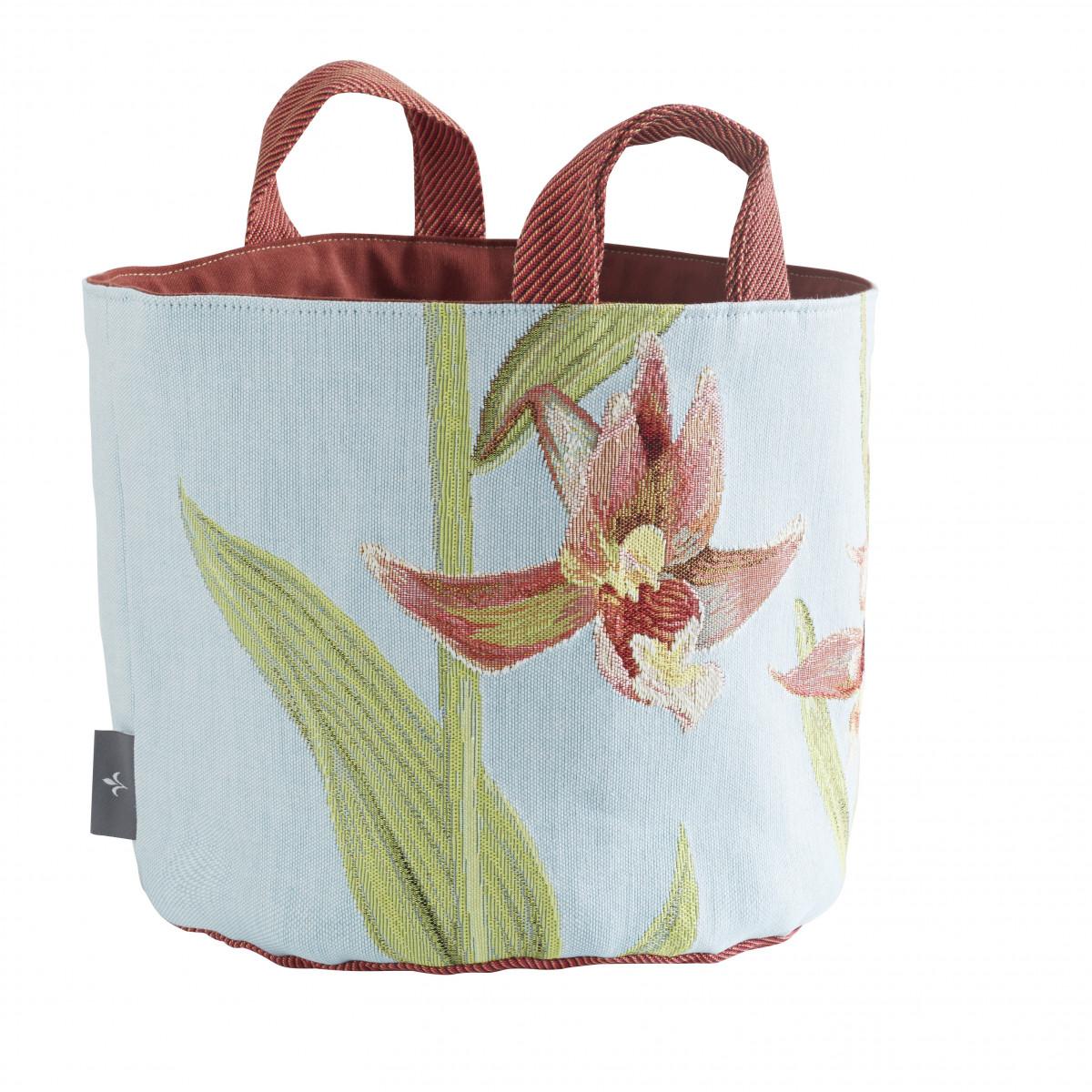 Panier orchidees tissé bleu 25x28
