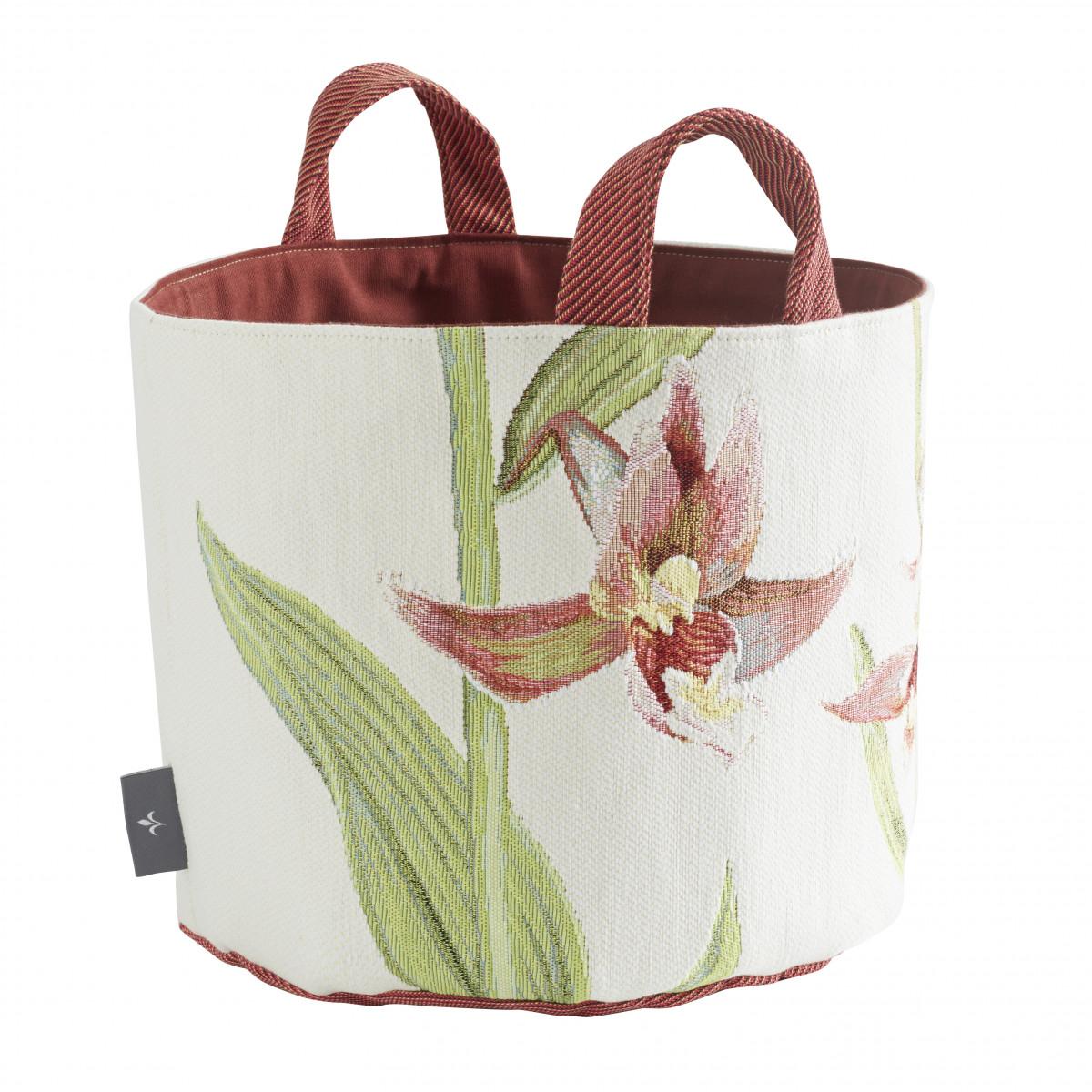 Panier orchidees tissé blanc 25x28