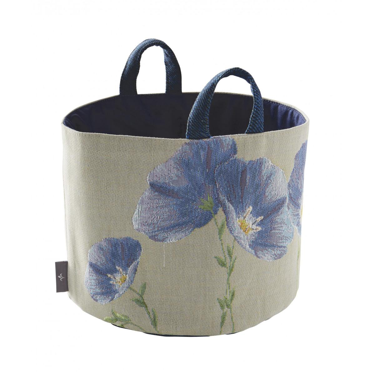 Panier fleurs de lin tissé gris 25x28