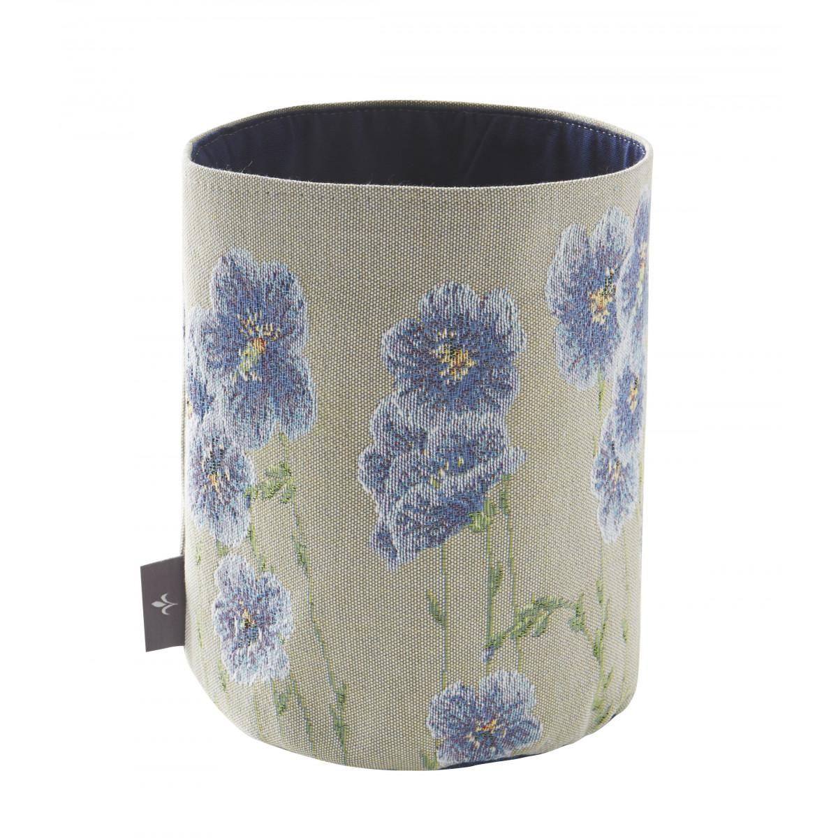 Panier fleurs de lin tissé gris 25x17