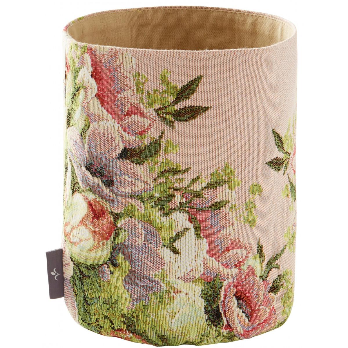 Panier bouquet tissé rose 25x17