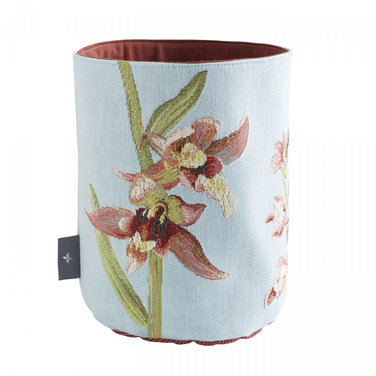 Petit panier orchidees tissé bleu 25x17