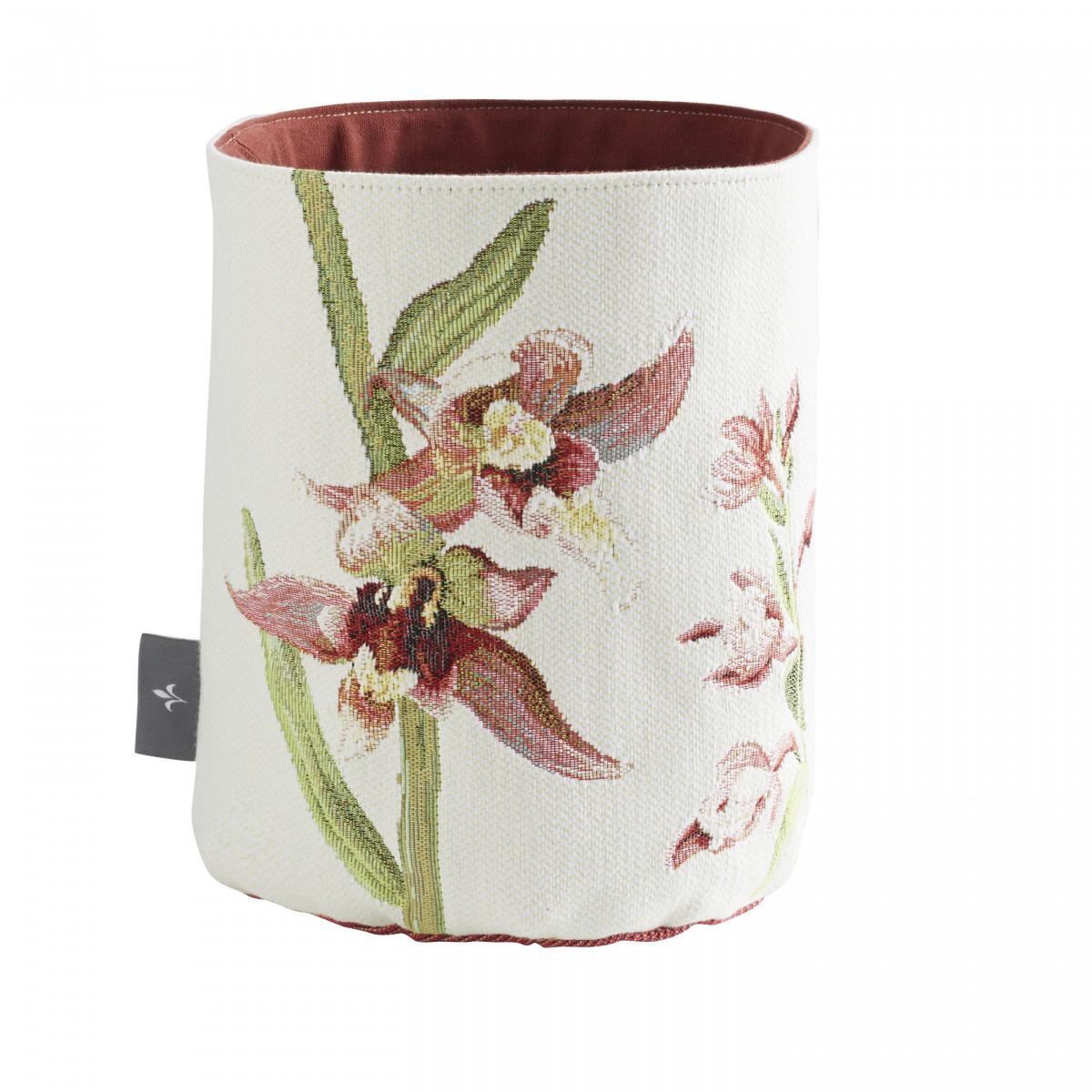 Petit panier orchidees tissé blanc 25x17