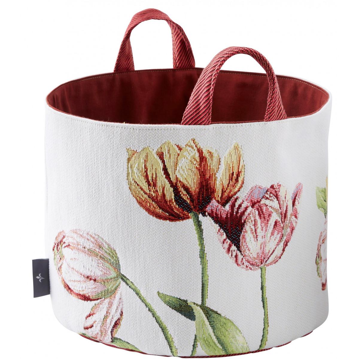 Panier tulipes tissé blanc 25x28