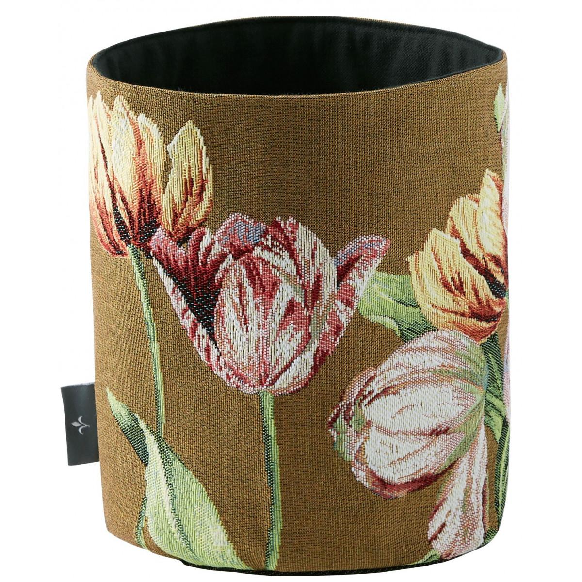 Panier tulipes tissé marron 25x17
